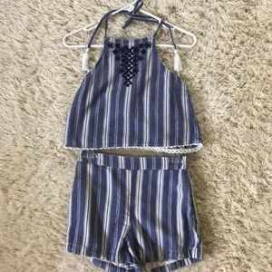 Holister crop top and shorts set
